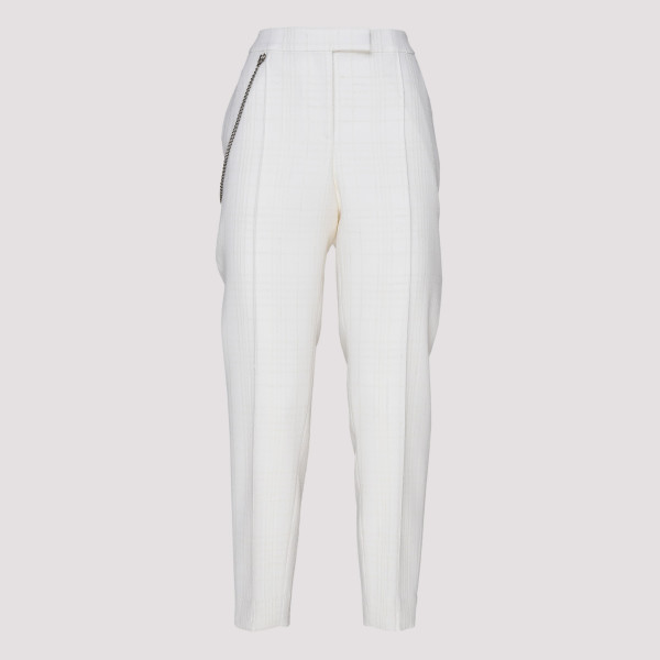 White chain cropped pants