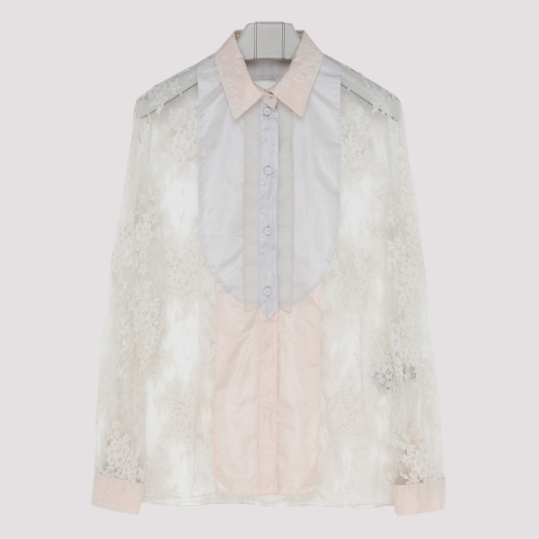 White floral lace shirt