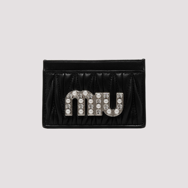 20ee6f7cc4f Black matelassé nappa leather card case