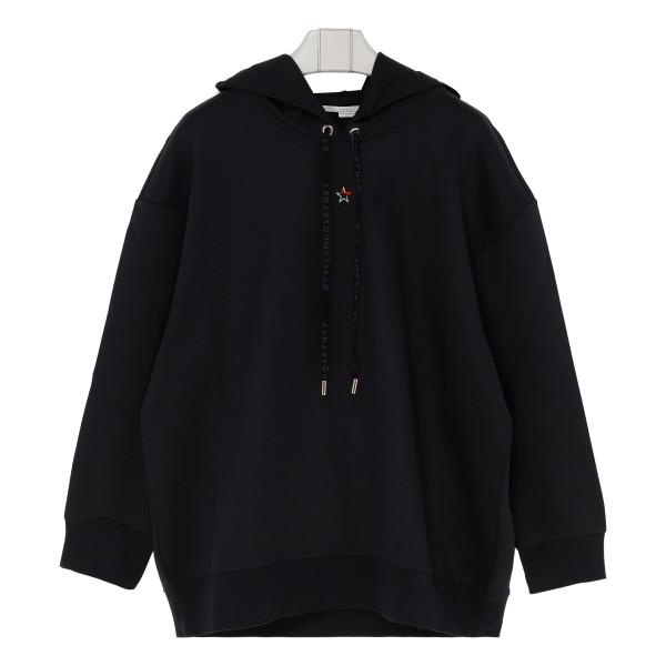 Blue logo drawstring hoodie