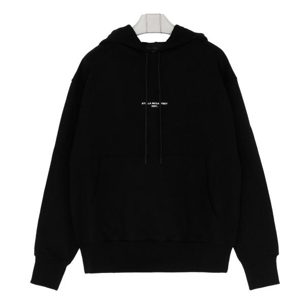 Black logo hooded sweatshirt