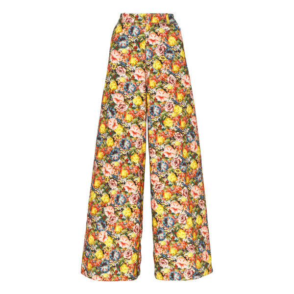 Flared cotton Ellebore print pants