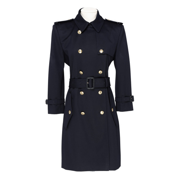 Blue trench belted coat