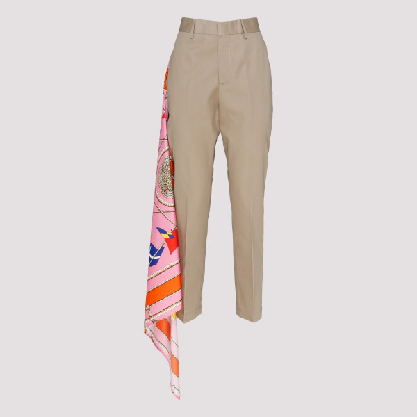 Beige pants with foulard