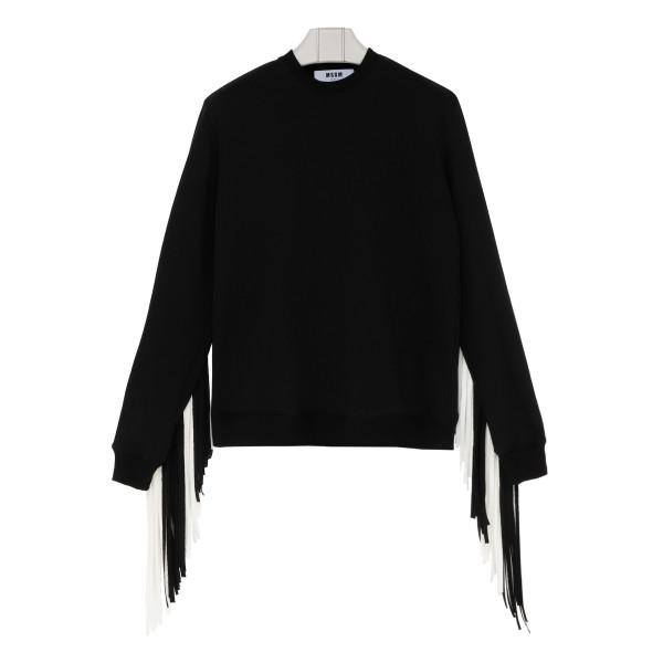 Black fringed sweatshirt