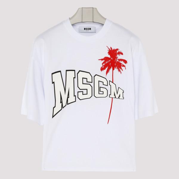 White cotton logo palm T-shirt