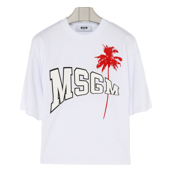 White cotton logo palm T-shirt