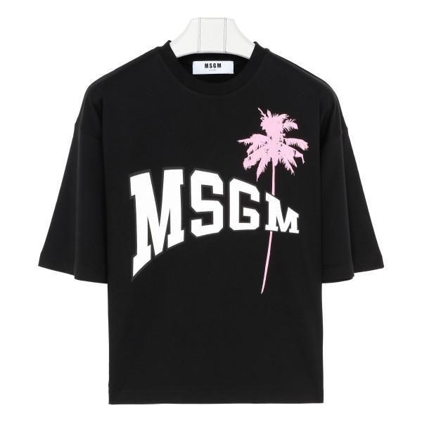 Black cotton logo palm T-shirt