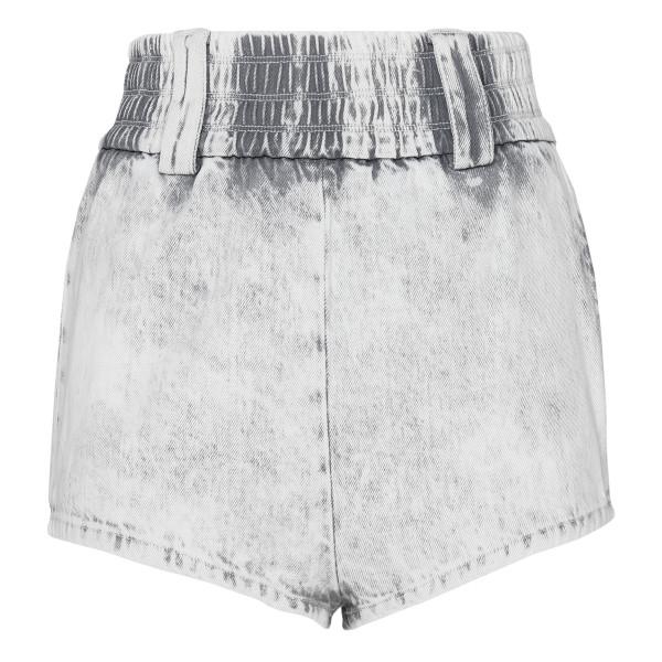 Gray washed denim shorts