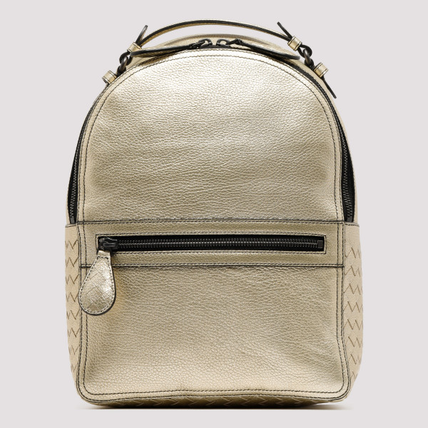 Golden metal leather backpack