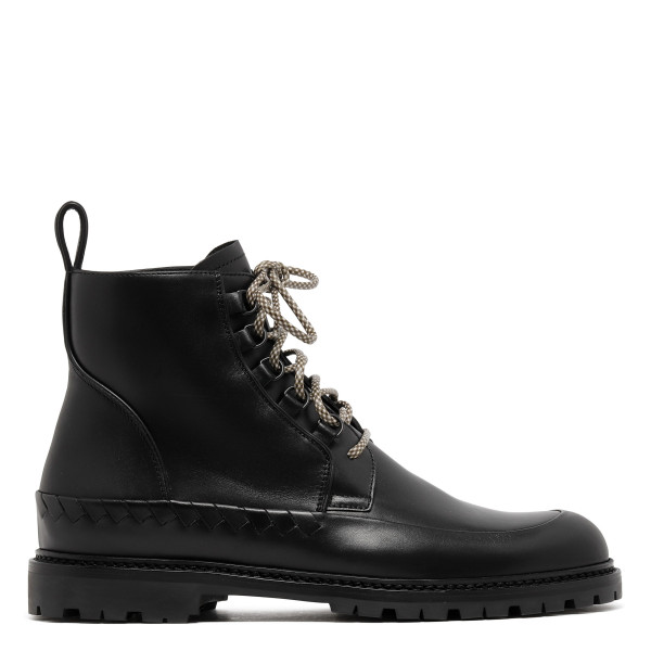Black leather combact boots