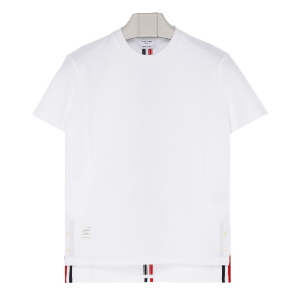 White cotton T-shirt with stripes logo print