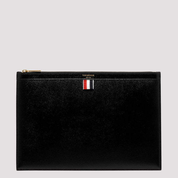 Black leather zipped pouch