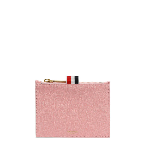 Pink leather zipped pouch