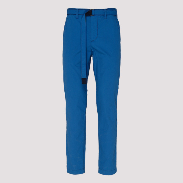 Blue belted straight-leg pants