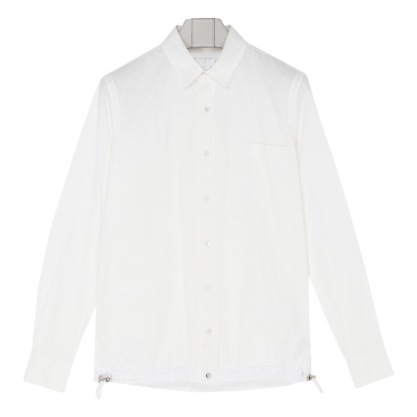 White cotton drawstring shirt