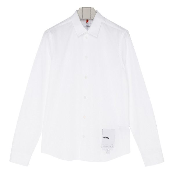 White cotton shirt with logo patch