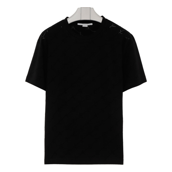 Black T-shirt with logo allover