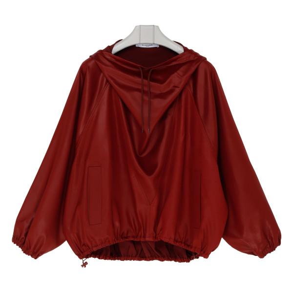 Burgundy shiny satin hoodie