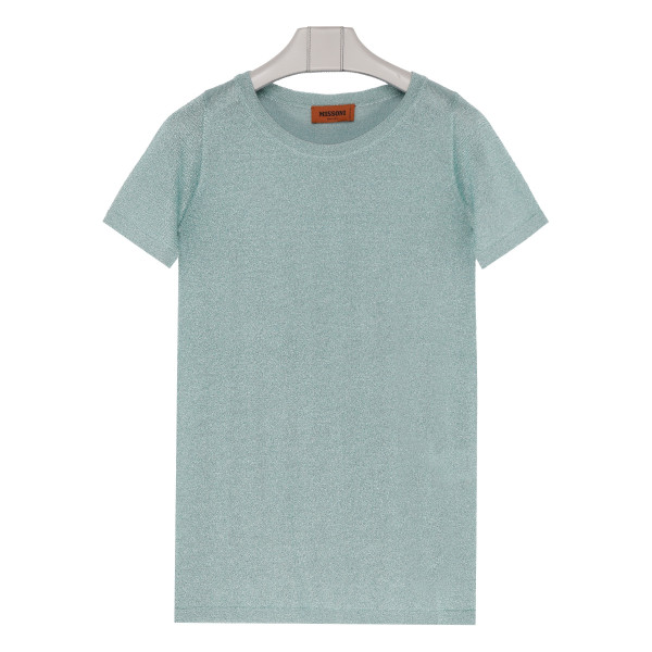 Dusty blue knitted lamé top