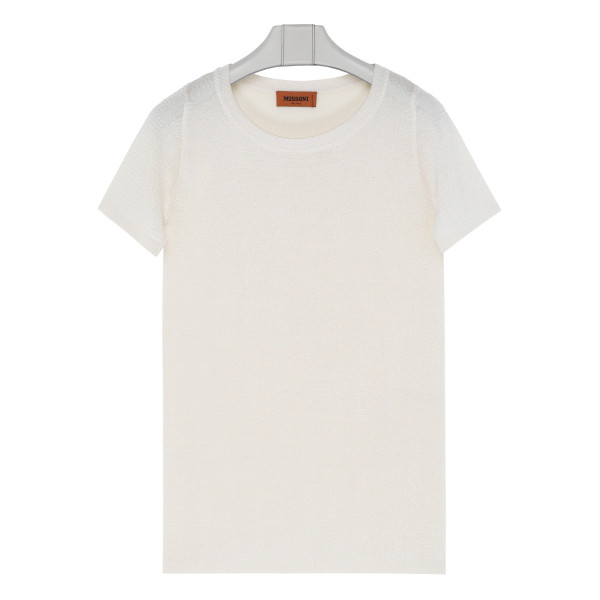 Ivory knitted lamé top