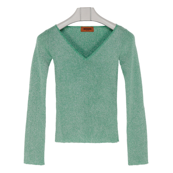 Green lamé knitted sweater