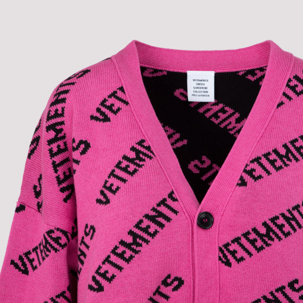 Vetements All over Logo Cardigan