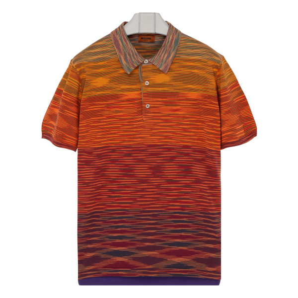 Orange knitted cotton polo