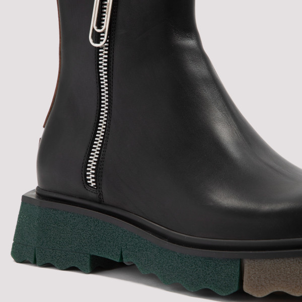 Off-White Sponge Sole Leather Zip Boots