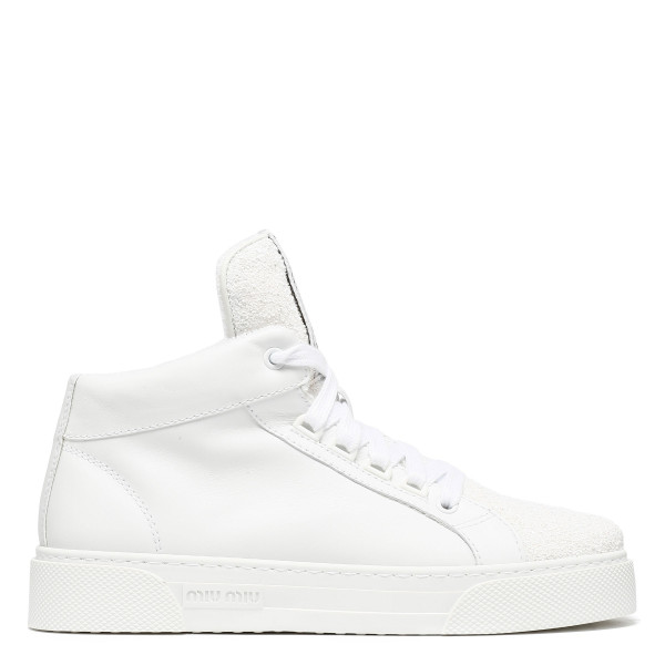 White logo glitter high-top sneakers