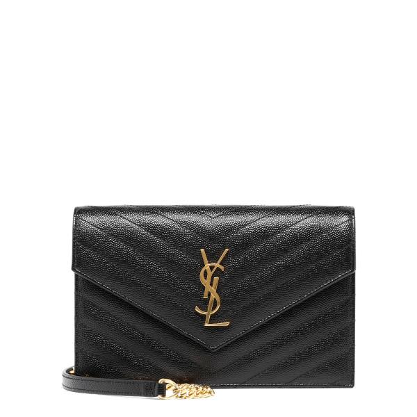 Black leather Envelope chain wallet bag