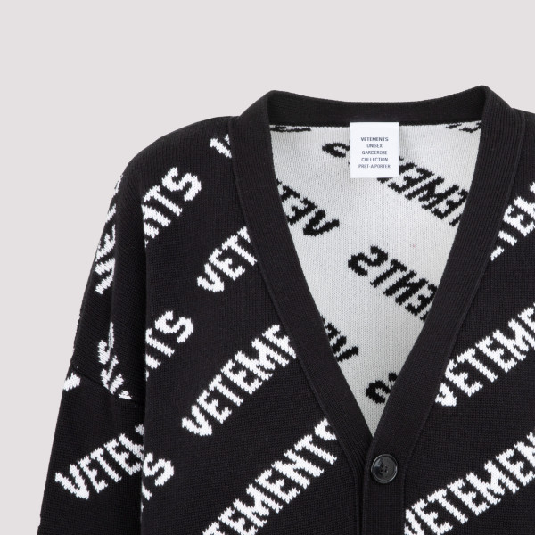 Vetements All Over Logo Knitted Cardigan