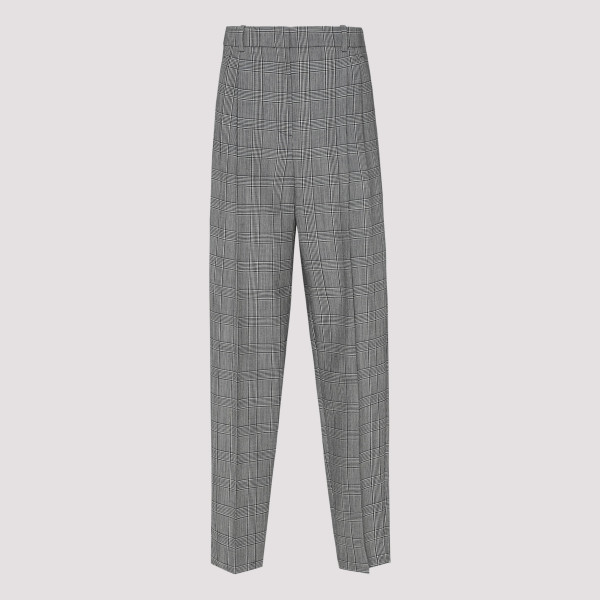 Checked high-rise wool pants