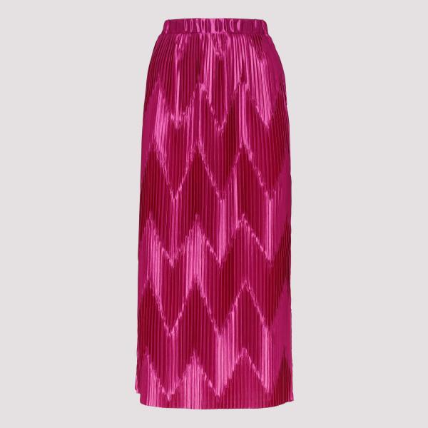 Fuchsia zig-zag pleated midi skirt