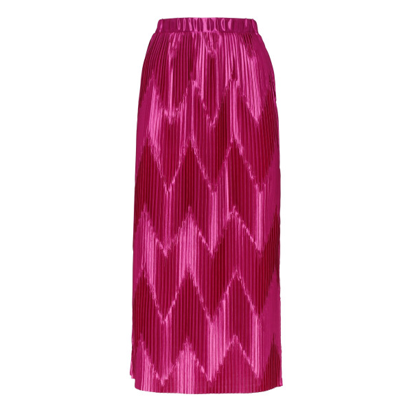 Fuchsia zig-zag pleated midi skirt