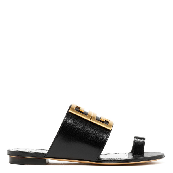 Black leather 4G flat sandals