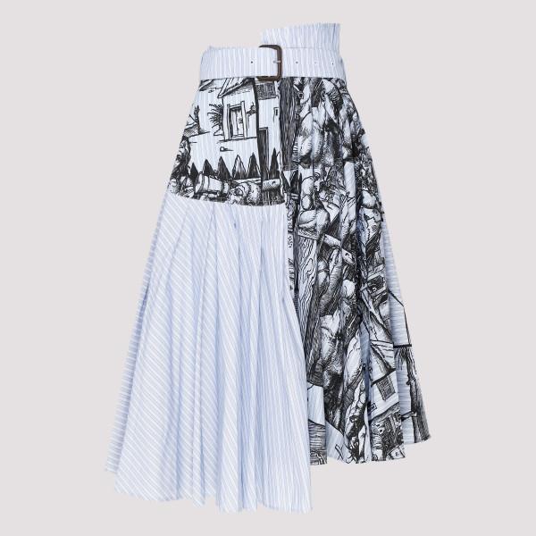 Durer scene print stripe skirt