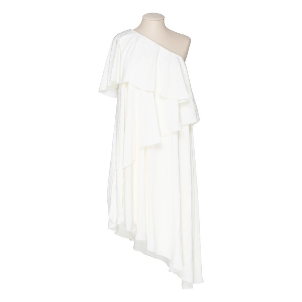 White asymmetrical ruffle dress