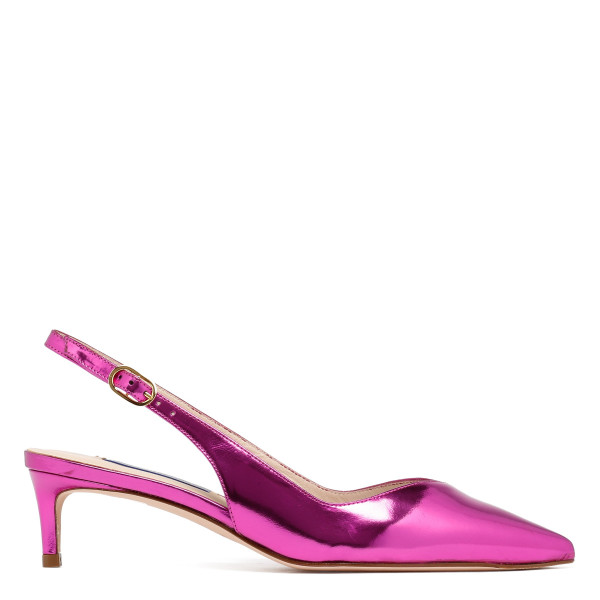 Edith flamingo specchio leather slingback pumps