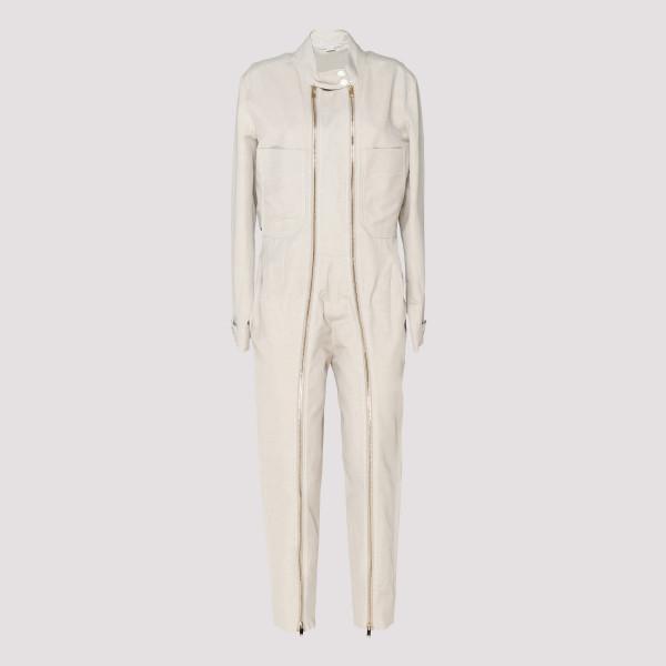 Zipped ivory aviator jumpsuit