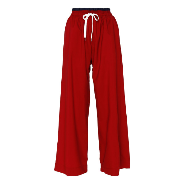 Red wool wide-leg pants