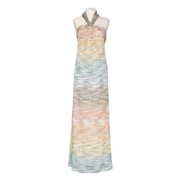 Zig-zag metallic-knit maxi dress