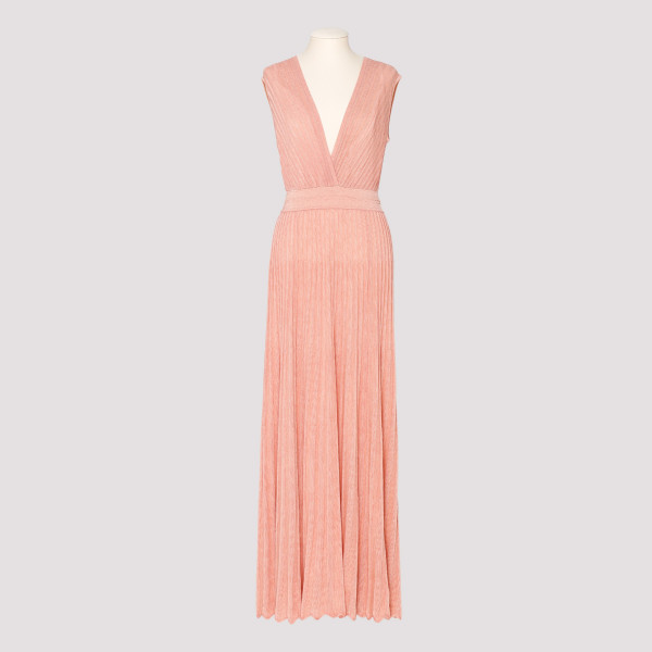 Peach pleated long dress