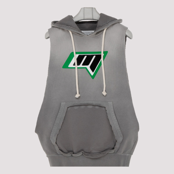 Gray sleeveless hoodie with...