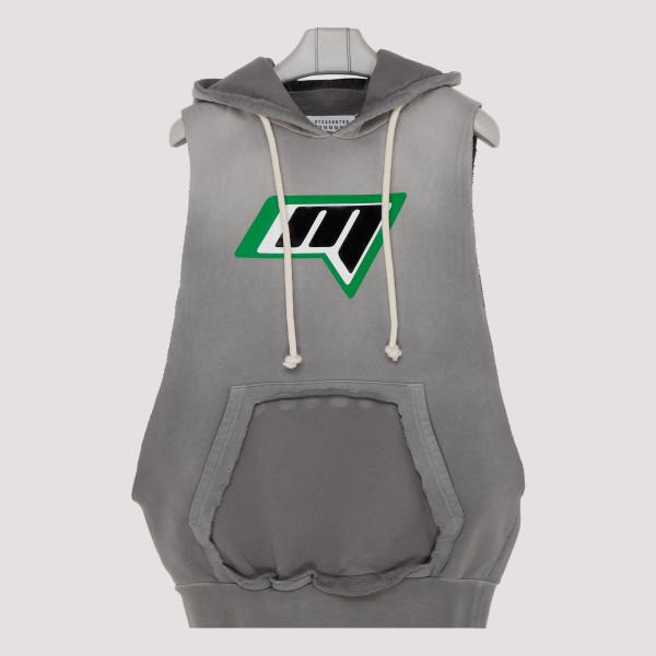 Gray sleeveless hoodie with...