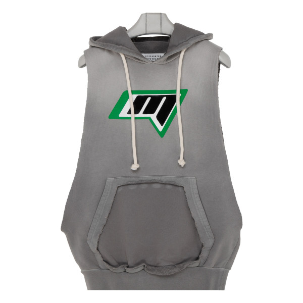 Gray sleeveless hoodie with logo