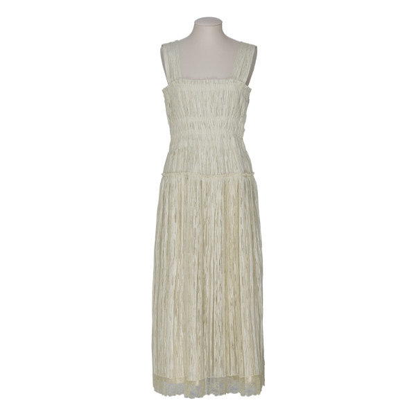 Beige silk blend midi dress