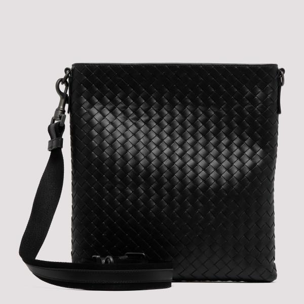 74ddd2df75 Black intrecciato small messenger bag