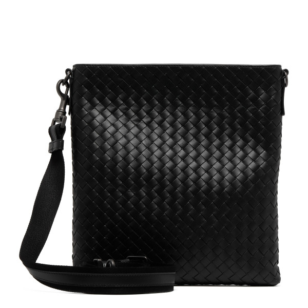 Black intrecciato small messenger bag