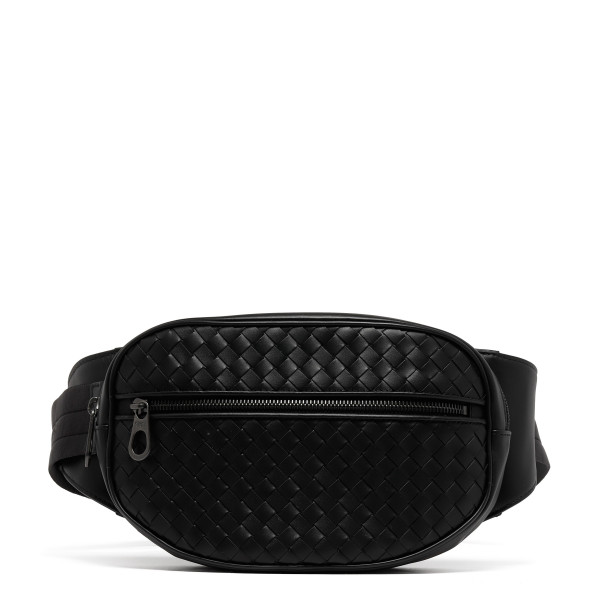Black intrecciato belt bag